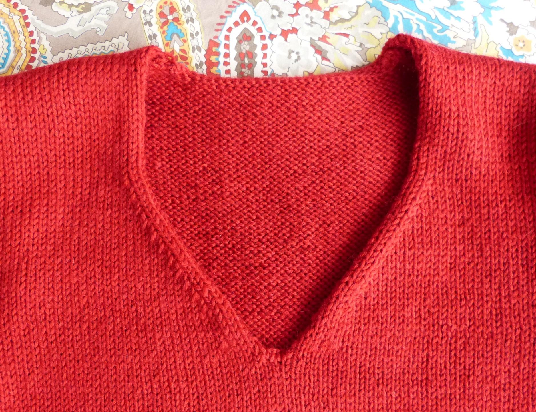 Tricoter encolure en v