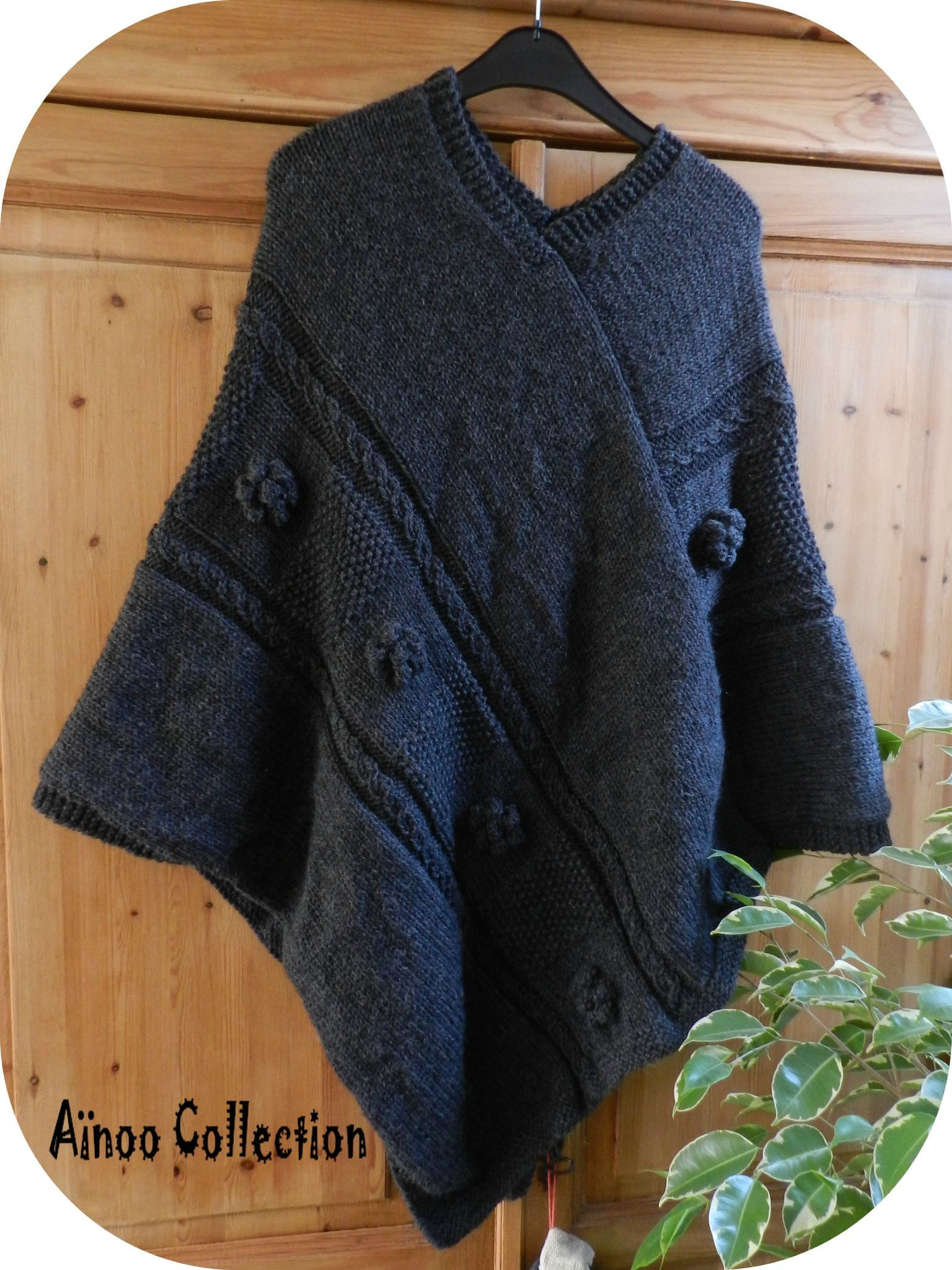 Tricot facile poncho femme