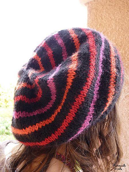 Tricot bonnet rayé