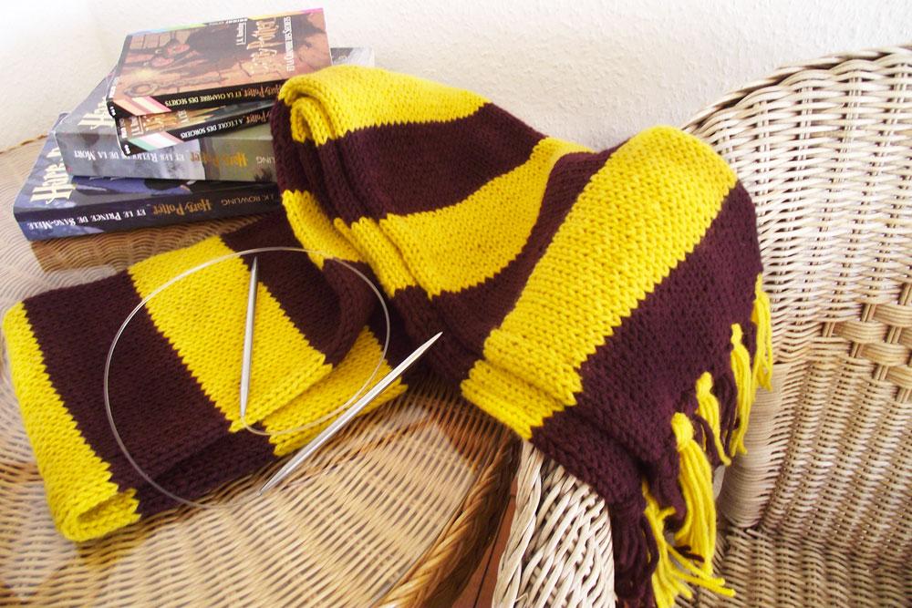 Tricoter echarpe rayures dans la longueur