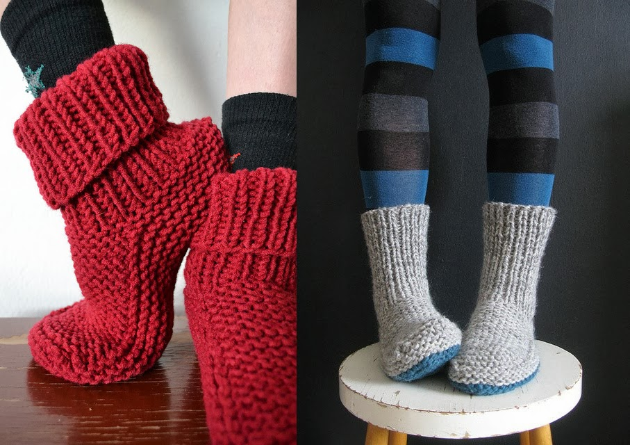 Tricot facile chausson adulte