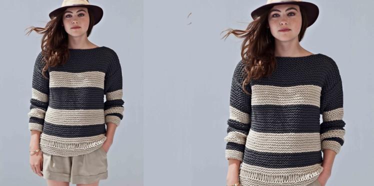 Modèle tricot rayé femme